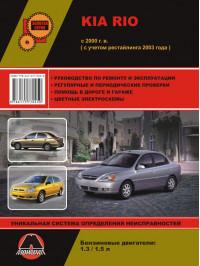 Kia Rio с 2000 года (+рестайлинг 2003 года), книга по ремонту в электронном виде