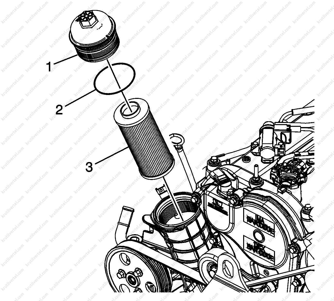 Chevrolet Trailblazer с 2012, масляный фильтр инструкция ...