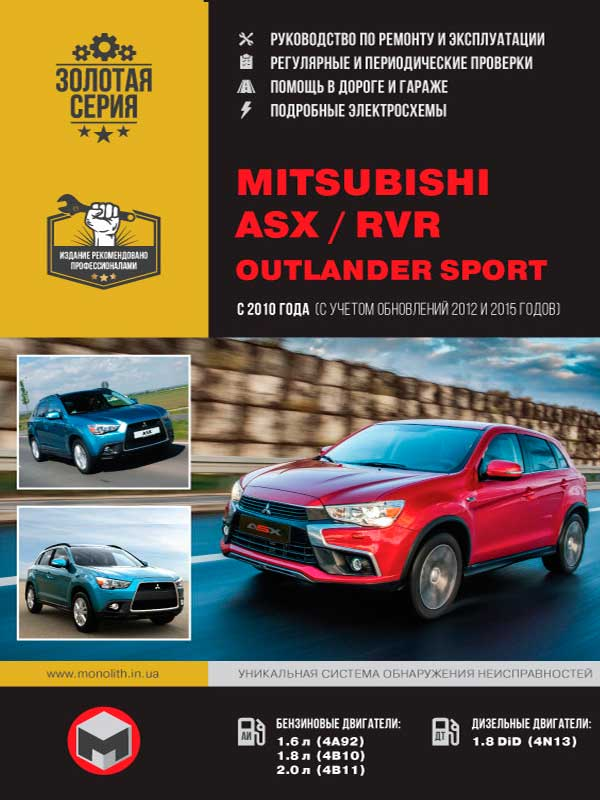 Mitsubishi ASX / Mitsubishi RVR / Mitsubishi Outlander Sport from 2010 (+ restyling in 2012 and 2015), book repair in eBook